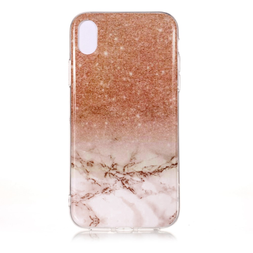 coque iphone xr marbre rose glitter