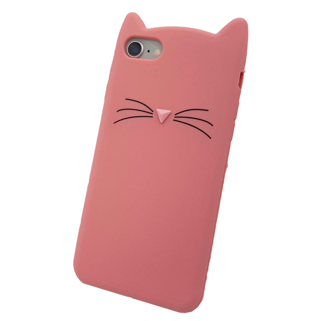 COQUE IPHONE 8 CHAT 3D ROSE 2 scaled